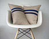 Cobalt Blue and Navy Striped Pillow Set - (12x20) and (16x16) by JillianReneDecor - Modern Home Decor - Minimal Stripes