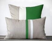 Kelly Green Pillow Set | 12x20 Stripe + 20x20 Colorblock by JillianReneDecor | Modern Home Decor | Emerald Green