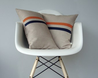 Orange and Navy Striped Pillow Set | (12x20) and (16x16) by JillianReneDecor | Modern Home Decor