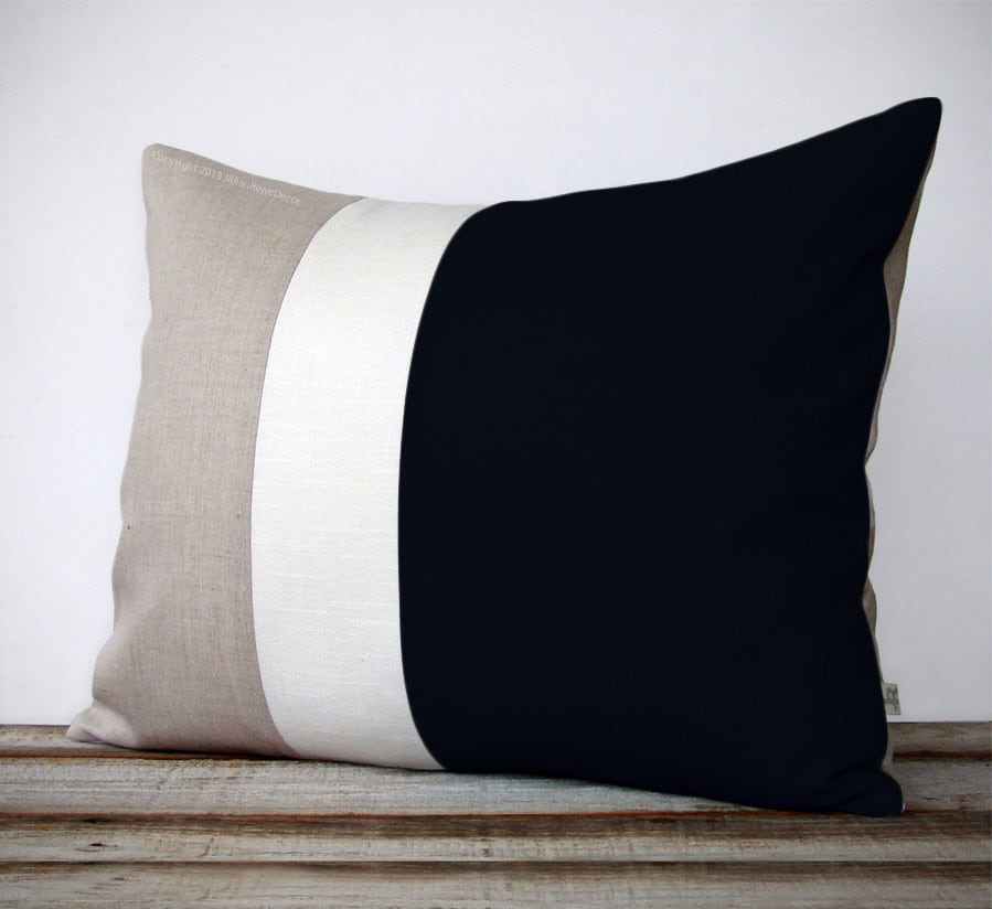 16x20 Color Block Pillow In Black Cream And Natural Linen By