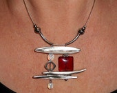 Statement necklace, Red pendant necklace, silver abstract necklace, gift for mothers day, bar necklace, asymmetric necklace, funky jewelry