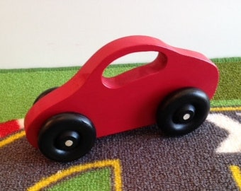 Toy Red Car - Handcrafted Wooden Red Toy Car