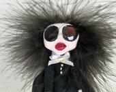 Wednesday Addams - Peg Doll Art Doll
