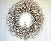 Cream Pip Berry wreath for your holiday front door - White Christmas - Front Door decoration - Holiday wreath
