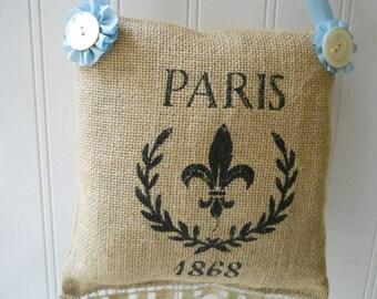Burlap small hanging pillow Paris Vintage lace trim pearl buttons pale blue French Cottage Chic