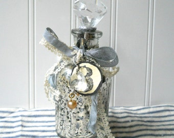 Upcycled Mercury glass bottle decanter vintage style Shabby Swedish Cottage Chic Prism stopper S3