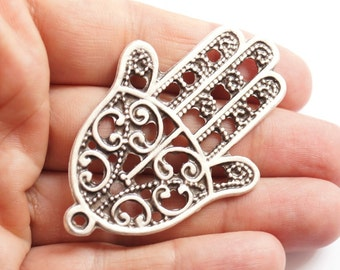 1 pc Matte Silver plated Hand of Hamsa pendant-65x43 mm  (413-029SP)