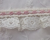 Ivory Ruffle Lace w Pink Rose Bud Embroidered Ribbon Trim for Baby Christening Bridal Designs