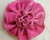 HOT PINK Velvet Ribbon Rose Fabric Sequin Beaded Flower Applique Hat Corsage Pin Baby Pageant Bridal Hair Accessory Applique