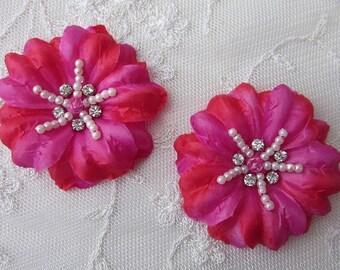 2 pc Handmade FUCHSIA RED Jasmine flower applique w rhinestone pearl for Hat Bridal Wedding Corsage Hair clip