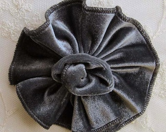 SILVER GRAY Velvet Ribbon Rose Fabric Sequin Beaded Flower Applique Hat Pin Baby Pageant Bridal Hair Accessory Applique