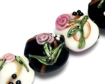 Seven Black & White w/Pink Flower Lentil Beads - Lampwork Glass Bead Sets 10107502