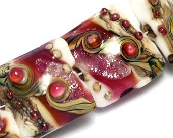Four Cranberry Stardust Pillow Beads -10109014-Handmade Glass Lampwork Bead