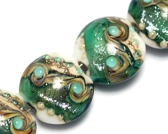 Four Mint Stardust Lentil Beads - Handmade Glass Lampwork Bead Set 10505812