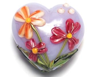 Morgan's Bouquet Heart (Large) - 11833525 - Handmade Glass Lampwork Beads
