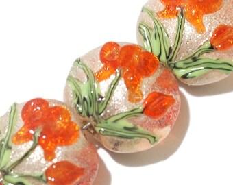 Glass Lampwork Bead Set - Four Vermilion Flower Lentil Beads 10705912
