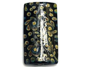 Black w/Beige Free Style Kalera Focal Bead 11805303 - Handmade Glass Lampwork Beads