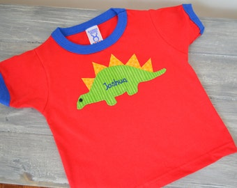 Spike the Stegosaurus Tee- Personalized Dinosaur birthday party shirt
