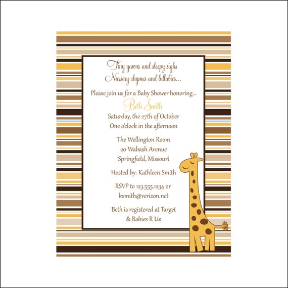 Giraffe Baby Shower invitation Personalized (set of 10)