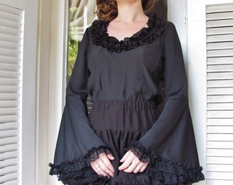 Special price Victorian black blouse with bell sleeves and ruffled collar