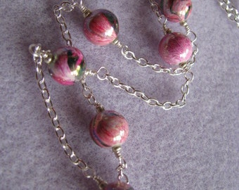 Pink Necklace , Pink Whirl and Silver Frame Necklace, Pink Swirl Affordable Necklace