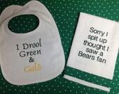 Items Similar To Green Bay Packers Bib Amp Burp Cloth Gift