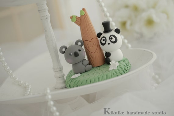 panda and koala Wedding Cake Topper-love Koala and Panda  cake topper--k910