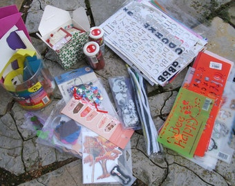 SALE Scrapbooking Supplies Big Lot Including 100 Sheets of Letters and Numbers Many Stencils and Much More was 20.00