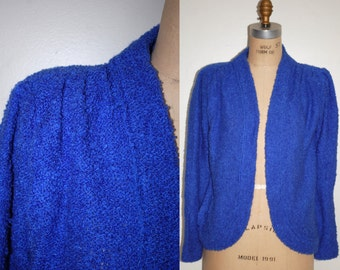 Cardigan Sweater Small.  Vintage 90s Blue Sweater.  Blue Cardigan Jumper S.  Size 4 / 6