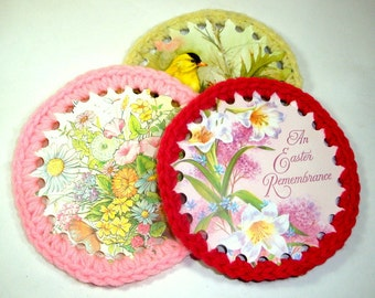 Vintage Card Decorations, Ornaments, Easter Spring, Flowers, Yellow Bird, Yarn Edging  (730-11)