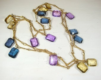 Beautiful Vintage Necklace, Jewelry, Cabochon Faux Gemstone, Purple, Yellow, Blue, Gold Tone Links  (281-12)