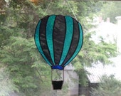 purple and turquoise Hot Air Balloon Stained Glass Art