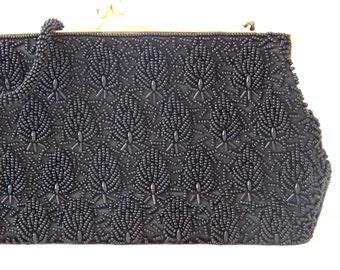 Vintage Beaded Purse in Black Heirloom