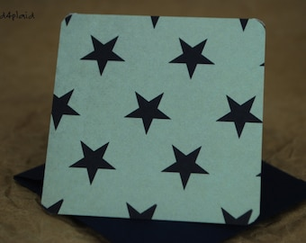 Blank Mini Card Set of 10, Summer Star Pattern with Contrasting Pattern on the Inside, Dark Navy Envelopes, mad4plaid