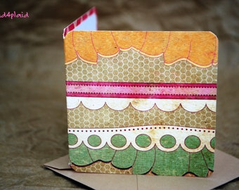 Blank Mini Card Set of 10, Cute Ruffle Design with Contrasting Pattern on the Inside, Light Natural Kraft Envelopes, mad4plaid
