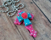 Large Curvy Hot Pink Stone Cross and Turquoise Blue Cross Pendant with Ball Chain Necklace
