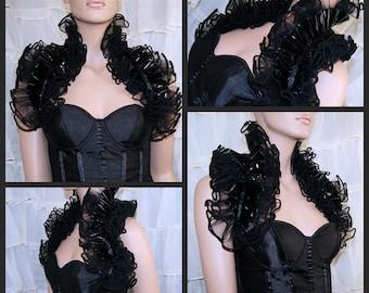 Gothic Black Tulle and Black PVC Shoulder Wrap - MTCoffinz