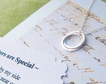 SISTERS NECKLACE - POEM Card Included Sterling Silver Jewelry for Sisters Inseparable Rings Circles Wiping a Tear