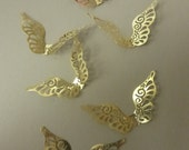Vintage Brass Up Swept Angel or Fairy Wing Stampings (6)