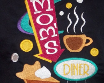 Black chef's style bib apron with Mom's diner embroidery.