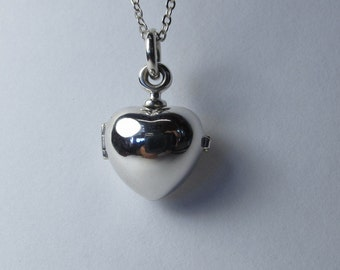 Heart Locket sterling silver with silver vermeil chain 45cm