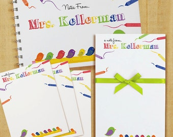 Stationery Set with Notepad, Cards and Journal - Crayon Teacher