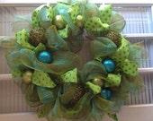 Lime and Teal Christmas Wreath