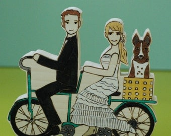 Custom Wedding Cake Topper Couple on Double Bike with Pet