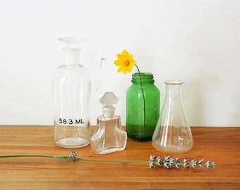 vintage 50s Mixed Group of Glass Apothecary Perfume and Beaker Bottles
