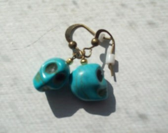 Turquoise Color Skull Earrings on Antique Gold Wires by hipknitta