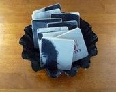 KENNY G upcycled Duotones album cover coasters with wacky record bowl