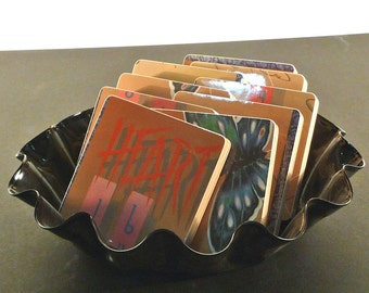 HEART recycled Dog and Butterfly album cover coasters with record bowl