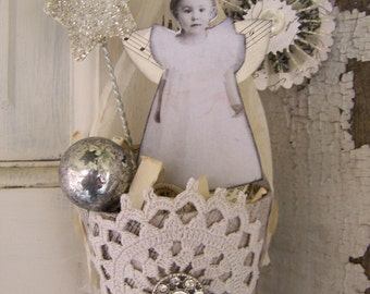 Handmade Winter White Christmas Vintage Christmas Angel  Shabby White Tussie Mussie Victorian Paper Cone  Vintage Christmas Decoration