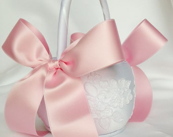 White and Pink Flower Girl Basket - Ivory Alencon Lace Flower Girl Basket